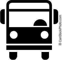 前部, バス, 光景, アイコン