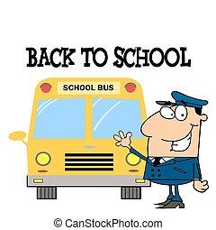 前部, バス, 学校, 運転手