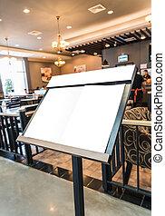 前部, メニュー, restaurant., 白人の委員会