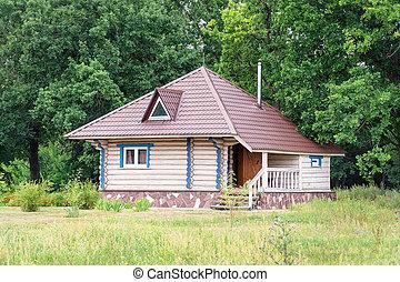 前部, 丸太, 小さい, 三角, 屋根, 森林, 家