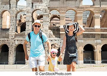 前部, 動くこと, colosseum, 若い 家族