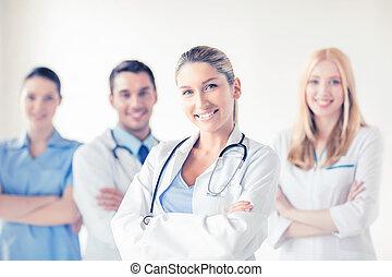 前部, 医学, グループ, 女性の医者