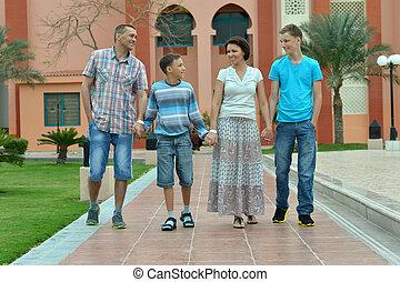 前部, 大きい, ホテル, 家族