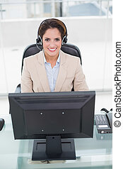 前部, 女性実業家, コンピュータ, 幸せ, モデル