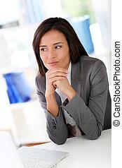 前部, 女性実業家, ラップトップ・コンピュータ, モデル