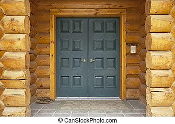 前部, 家, ドア, 丸太, 細部
