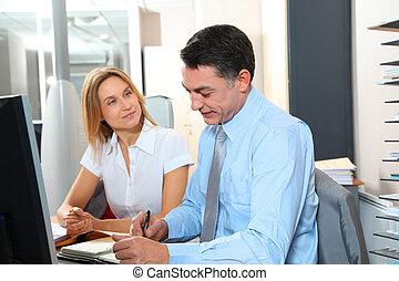 前部, 従業員, マネージャー, コンピュータ, オフィス