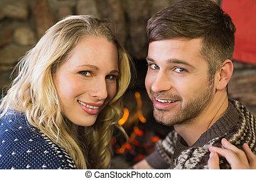 前部, 恋人, 暖炉, ロマンチック, 微笑