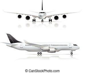 前部, 現実的, 定期旅客機, サイド光景