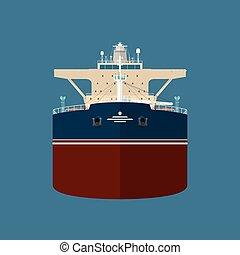 前部, 石油タンカー, 光景