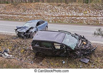 前部, 自動車, 坑道側, 事故, 後で