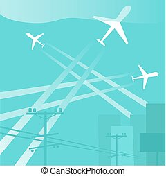 前部, 都市, 飛行機, シルエット, 大きい