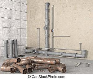 前部, 錆ついた, 新しい, 3d, イラスト, 古い, 浴室, 増した, 山, パイプ