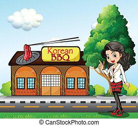 前部, 韓国 焼肉, 女の子, 店