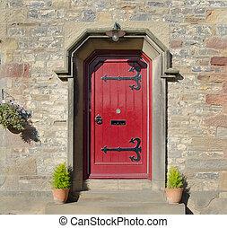 前部, gothic, ドア, 赤