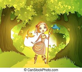 前部, shepherdess, 森林