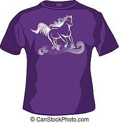 前部, tshirt, 馬