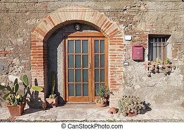 前門, 裝飾, 由于, 仙人掌, 植物