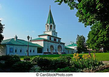 前门, 在中, the, 古代, 皇家的住处, kolomenskoye.