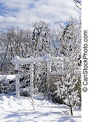 前院, 在中, a, 房子, 在中, 冬季