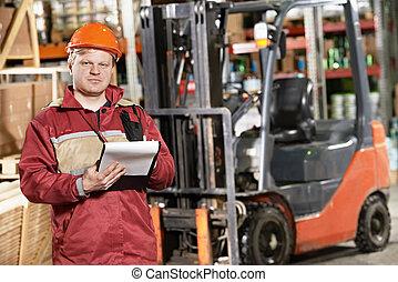 前面, 倉庫, 鏟車, 工人