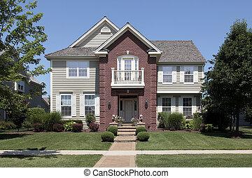 前面, 家, 磚, 陽台