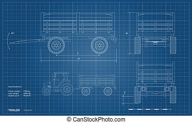 前面, 往回, outline, 拖车, machinery., 图, 拖拉机, 农业, 白色, 蓝图, 机械, 工业, 背景。, 边, 察看, 隔离, style., 农场