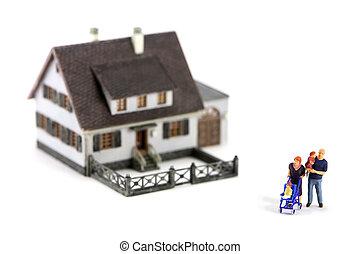 前面, 微型畫, 模型, 家庭, 家