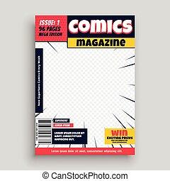 前面, 樣板, 喜劇演員書, 設計, 雜志, 頁
