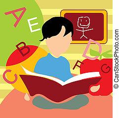 前面, 男孩, 书, 察看, 学习