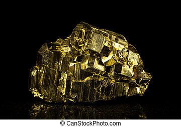 前面, 石頭, 黑色, 黃鐵礦, 礦物
