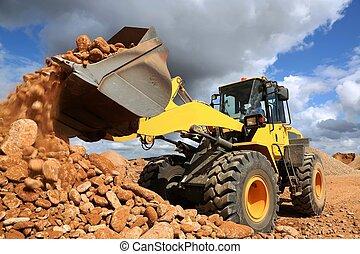 前面, 結束, 石頭, 傾泄, loader