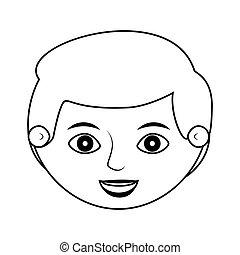 前面, 臉, 人, 微笑, 黑色半面畫像