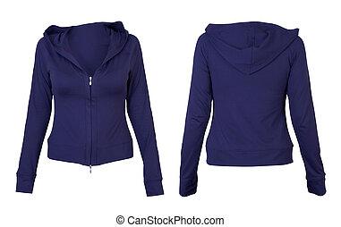 前面, 藍色, 背, T恤衫