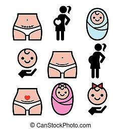 剖腹, 部分, c-section, 怀孕的婦女, 嬰孩, 圖象, 集合