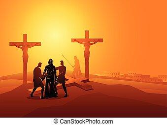 剝去, 他的, 耶穌, 衣服