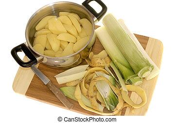 剝, 韭蔥, 土豆, 準備正餐