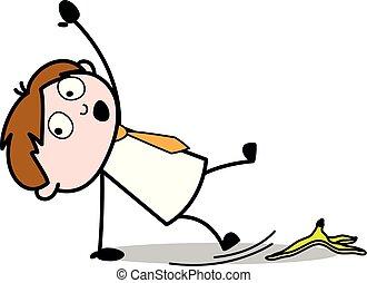 剥皮, slipped, 办公室, -, 描述, 香蕉, 矢量, 雇员, 推销员, 卡通漫画