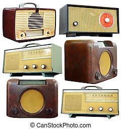 剪下的资料, 放置, 老, 隔离, 收音机, 白色, path.