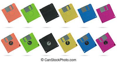 剪下的资料, 放置, multicolour, 隔离, 软盘, 背景, 白色, path.