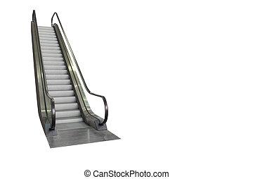 剪下的资料, 自动楼梯, 隔离, 背景, included., 路径, 白色
