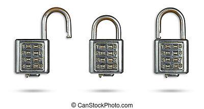 剪下的资料, path., 钥匙, 背景, 老, 放置, 白色, 隔离, 锁, 口令, 放置
