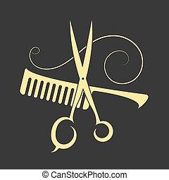 剪刀, 以及, 梳子, 為, 美容院