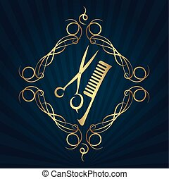 剪刀, 以及, 發刷, 為, 美容師