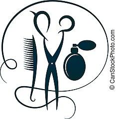 剪刀, 以及, 發刷, 為, 美容師, 黑色半面畫像