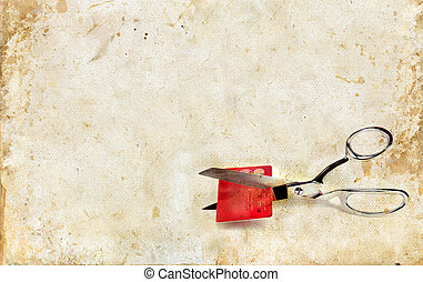 剪刀, 切, a, 信用卡, 上, grunge, 背景