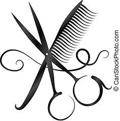剪刀, 梳子, 以及, 頭髮, 黑色半面畫像
