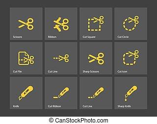 剪刀, 由于, 傷口, 線, icons.