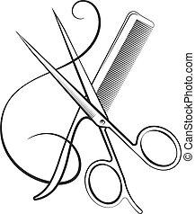 剪刀, 由于, a, 梳子, 以及, 卷發, 頭髮