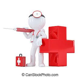 剪, 醫生, isolated., 包含, 路徑, syringe.